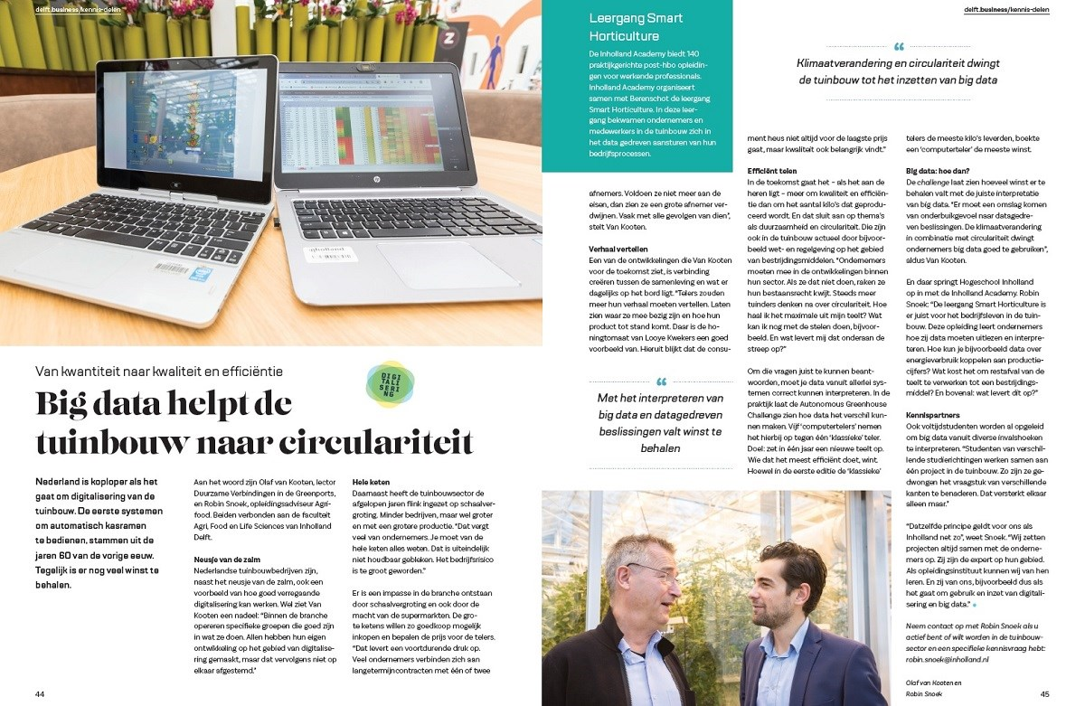 Leergang Smart Horticulture - interview Delft.business